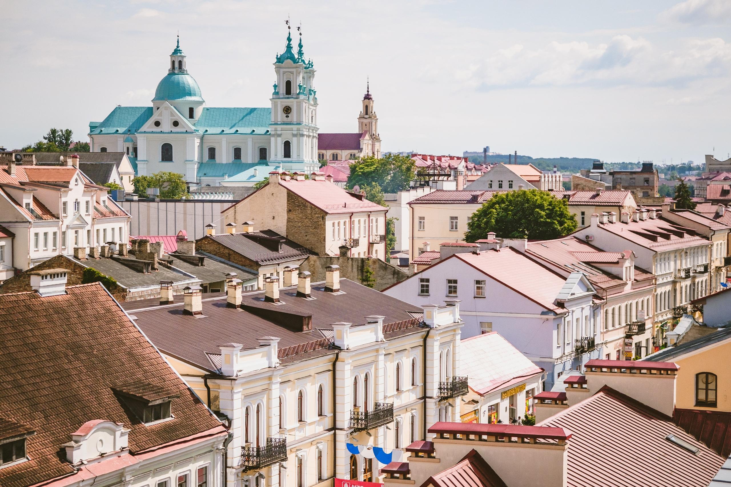 Вид на старый город в Гродно