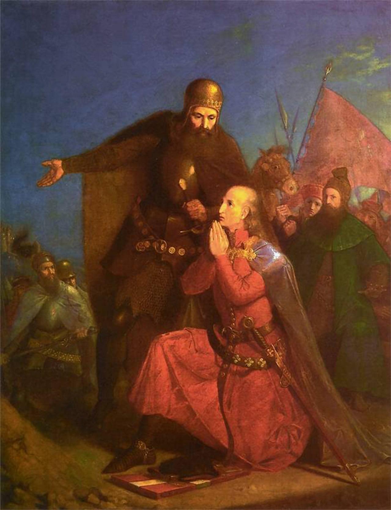 Витовт и Ягайло перед битвой
