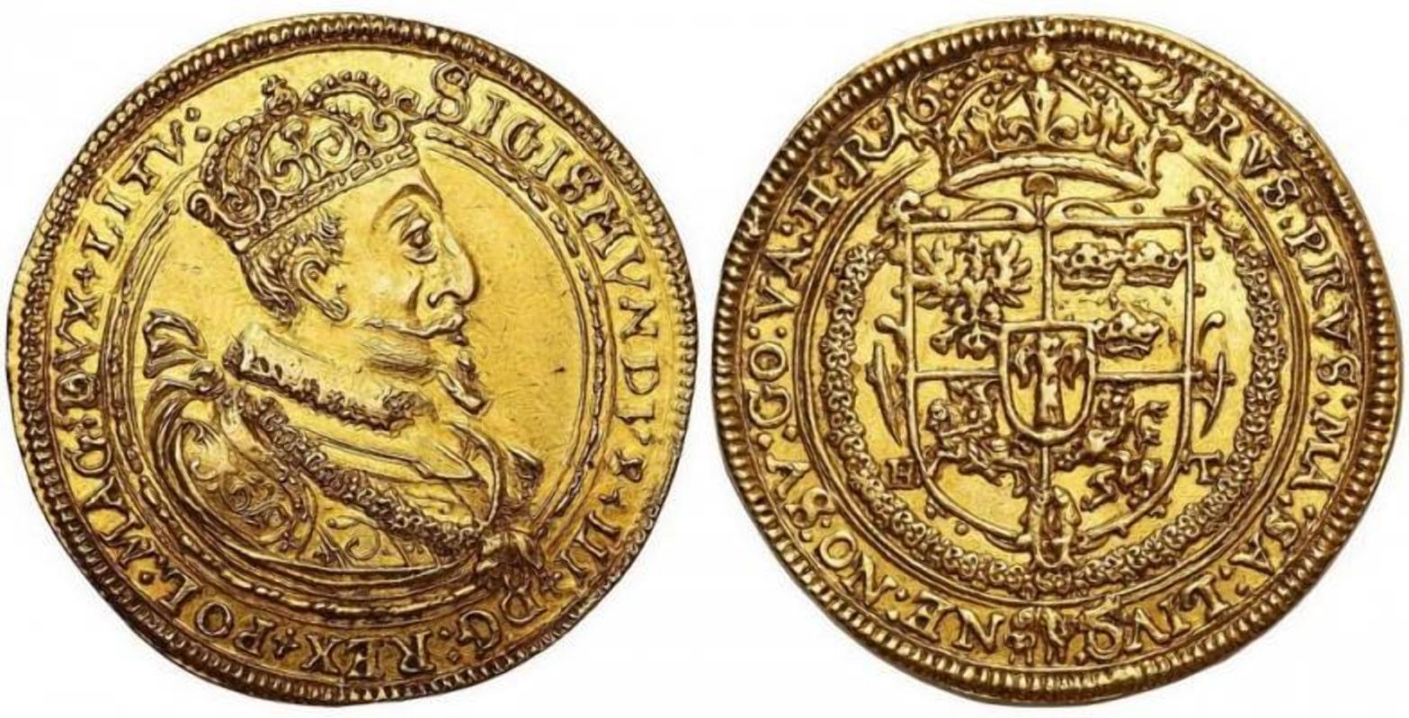 Золотая монета чеканенная для ВКЛ, основа кладов 17 века