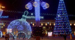 Площадь в Минске на Новый Год