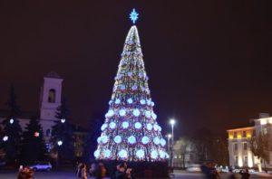 Площядь Ленина в Бресте на Новый Год