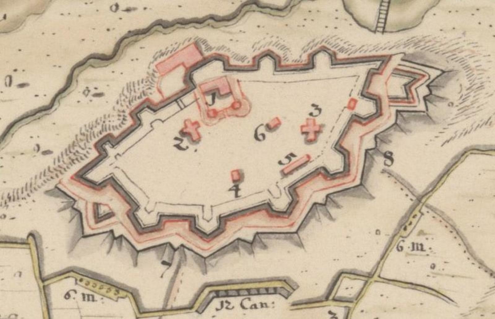 План Быховской крепости начала 18 века