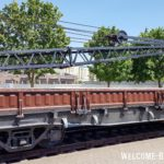 Четырехосная платформа 422-742 грузоподъёмностью 62т с металлическими бортами без ручного тормаза 1953