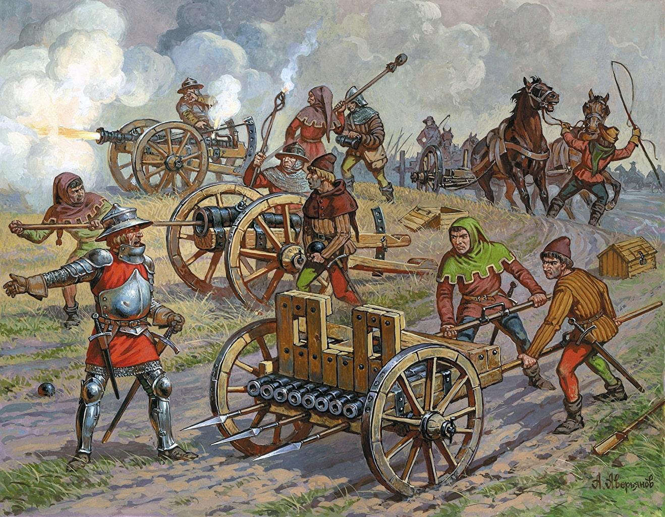 При осаде Кревского замка были впервые применена артиллерия