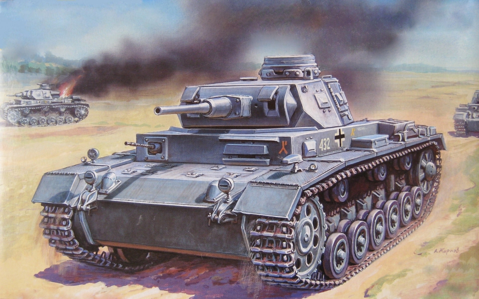 Танки Т-III противостоящие артиллеристам