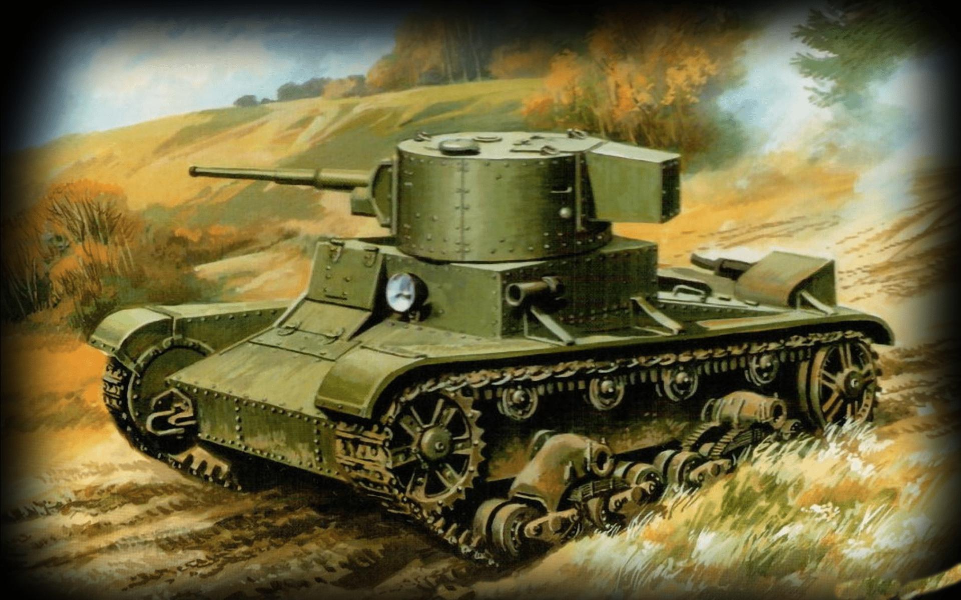 Большая колонна однотипных легких танков двигалась к переезду